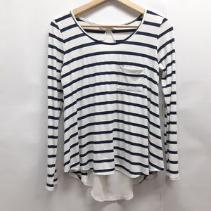 Miami blue and white long sleeve top Size Small